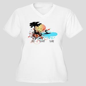 Eat Sleep Surf Women's Plus Size V-Neck T-Shirt