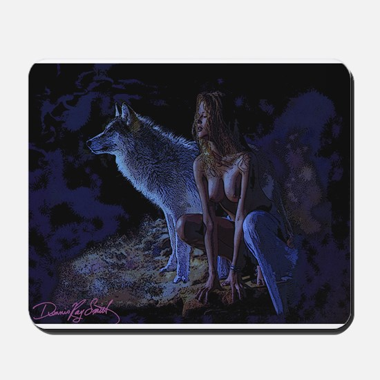 Wolf in Moonlight Print Mousepad