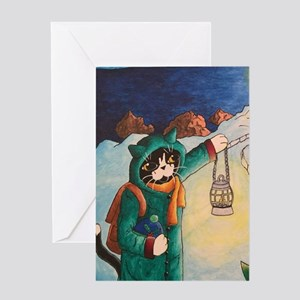 Lighthouse at Night Cats Greeting Cards