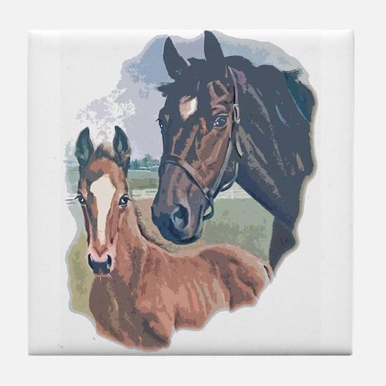 mare and colt portrait Tile Coaster
