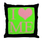 I Heart Me Lime Green Back / Pink Throw Pillow