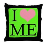 I Heart Me Throw Pillow Lime Green /Pink - Black