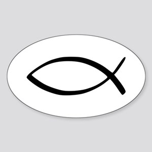 Jesus Fish Oval Sticker