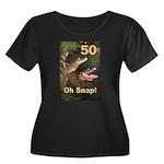 50, Oh Snap Women's Plus Size Scoop Neck Dark T-Sh