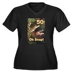 50, Oh Snap Women's Plus Size V-Neck Dark T-Shirt