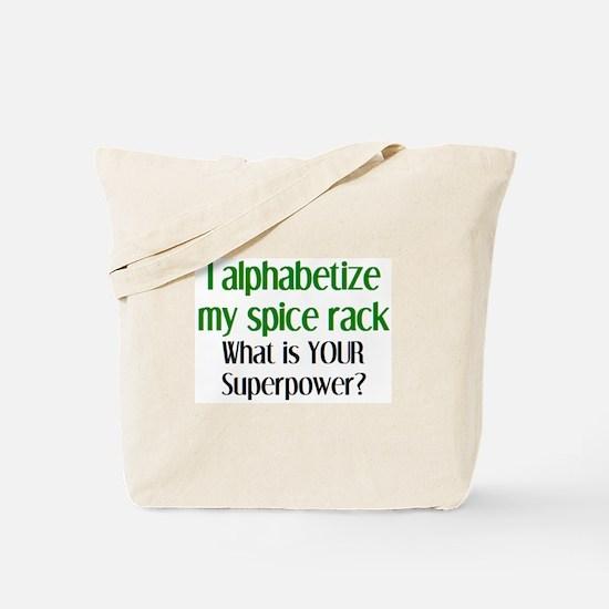 alphabetize spice rack Tote Bag