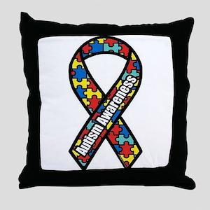 Autism Ribbon Throw Pillow
