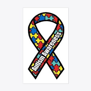 Autism Ribbon Rectangle Sticker