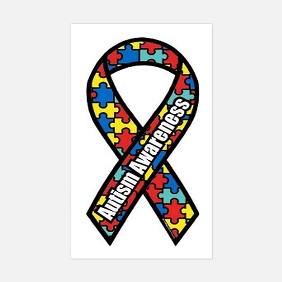 Autism Ribbon Rectangle Bumper Stickers