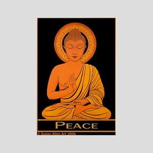 Rectangle Peace Magnet, Golden Budda Image