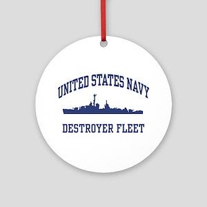 Navy Destroyer Ornament (Round)