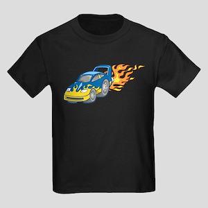 Blue Sports Car Shooting Flam Kids Dark T-Shirt