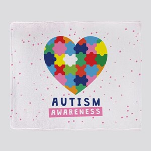 pink autism awareness Throw Blanket