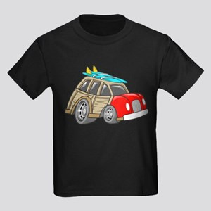 Red Woodie with Surfboards Kids Dark T-Shirt