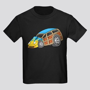 Blue Woodie with Yellow Flame Kids Dark T-Shirt