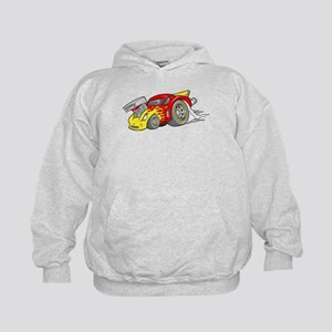 Red Hot-Rod with Yellow Flame Kids Hoodie