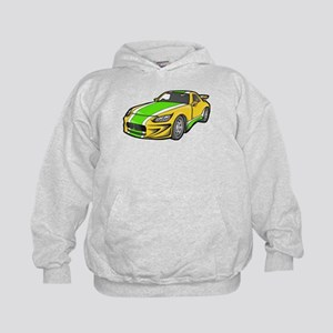 Yellow Hot-Rod with Green Str Kids Hoodie