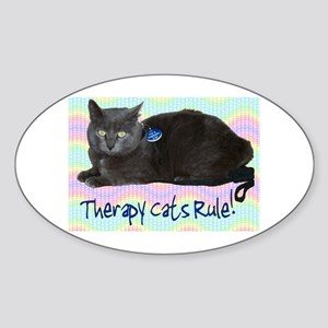 """Therapy Cats Rule!"" Oval Sticker"