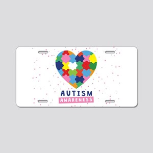 pink autism awareness Aluminum License Plate