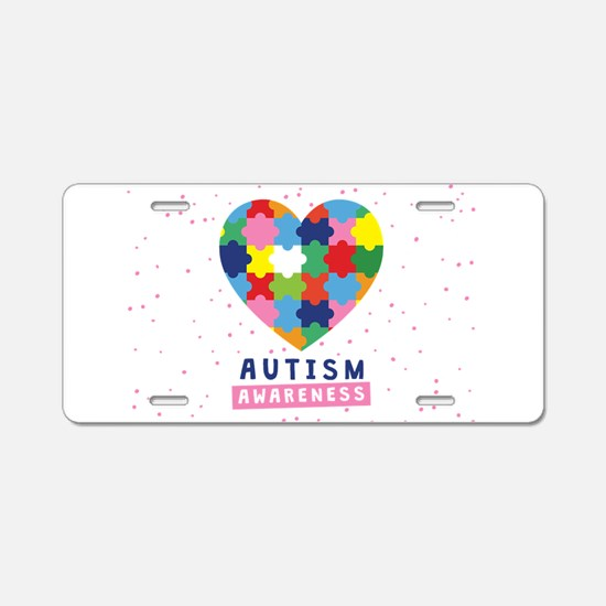 pink autism awareness Aluminum License Plate