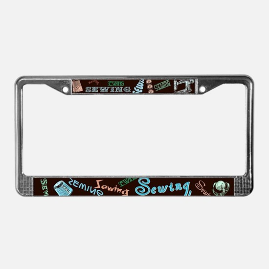 Sewing Aqua License Plate Frame