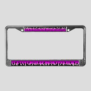 Purple Flame License Plate Frame