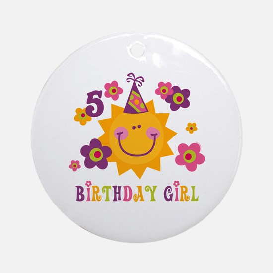 Sun 5th Birthday Ornament (Round)