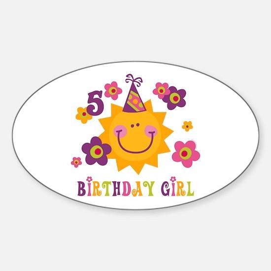 Sun 5th Birthday Oval Decal