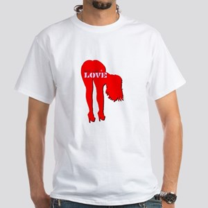 bend over 4 LOVE Men's White T-Shirt
