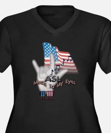 Music to my Eyes - Women's Plus Size V-Neck Dark T