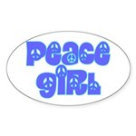 Peace Girl Oval Sticker