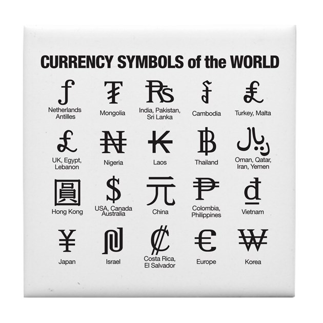 World Currency Symbols Tile Coaster By Currencysymbols