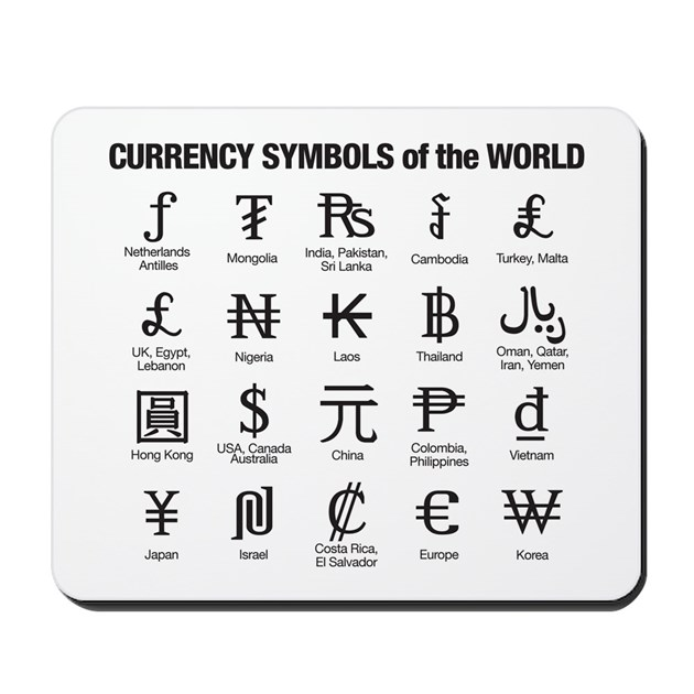 World Currency Symbols Mousepad By Currencysymbols