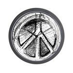 Urban Peace Sign Sketch Wall Clock