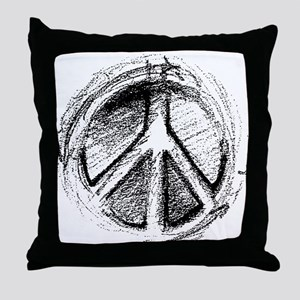 Urban Peace Sign Sketch Throw Pillow