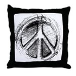 Urban Peace Sign Sketch Throw Pillow