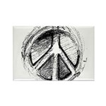 Urban Peace Sign Sketch Rectangle Magnet