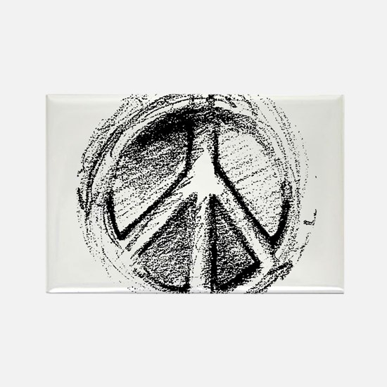 Urban Peace Sign Sketch Rectangle Magnet (100 pack