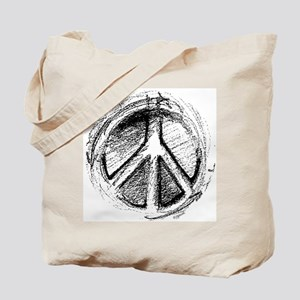 Urban Peace Sign Sketch Tote Bag