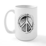 Urban Peace Sign Sketch Large Mug