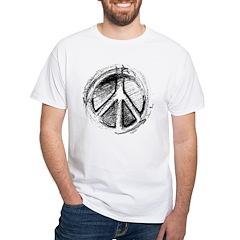 Urban Peace Sign Sketch White T-Shirt