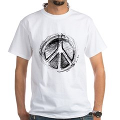 Urban Peace Sign Sketch White T-Shirt