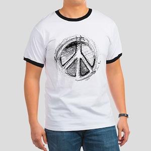 Urban Peace Sign Sketch Ringer T