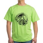 Urban Peace Sign Sketch Green T-Shirt