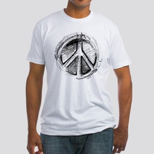 Urban Peace Sign Sketch Fitted T-Shirt