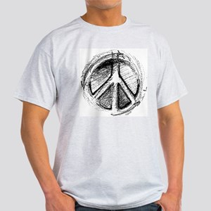 Urban Peace Sign Sketch Ash Grey T-Shirt