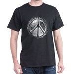 Urban Peace Sign Sketch Black T-Shirt