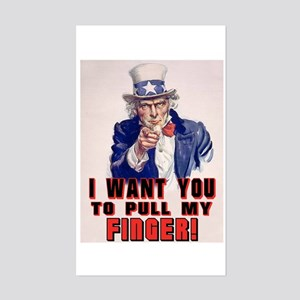 I want you to pull my finger Rectangle Sticker