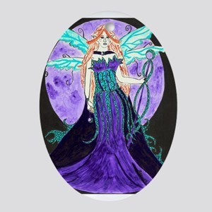 Purple Moon Oval Ornament