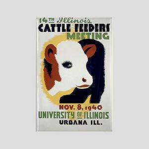 Cattle Meeting Vintage WPA Art Rectangle Magnet